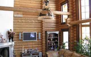 Интерьер в деревянном доме из бревна