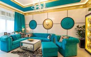 Дизайн с бирюзовым диваном