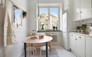 Круглый стол в интерьере кухни фото