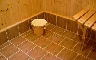 Плитка внутри бани