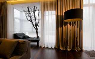 Коричневые шторы в светлом интерьере