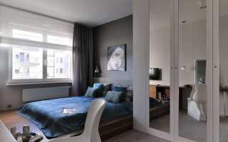Римская штора в интерьере спальни
