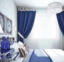 Синие шторы в белом интерьере