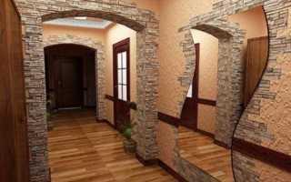Декоративный камень и обои в интерьере