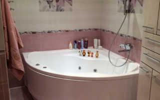 Санузел с угловой ванной дизайн
