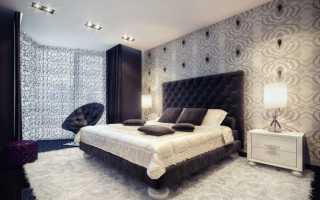 Серые обои в интерьере спальни