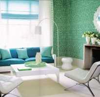 Интерьер зеленой комнаты