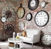 Стена с часами интерьер