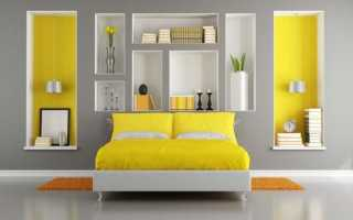 Сочетание серого и желтого в интерьере