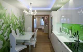 Кухня зеленые обои дизайн