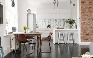 Темный пол в интерьере кухни