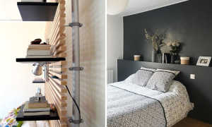 Настенные полки в интерьере спальни