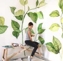 Рисунки на стене в интерьере