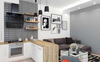 Кухня студия с барной стойкой дизайн
