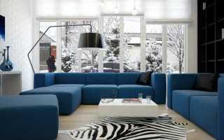 Интерьер с голубым диваном
