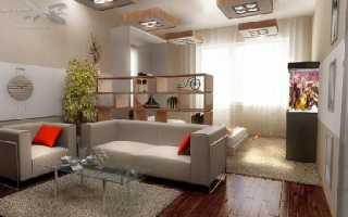 Зонирование квадратной комнаты на спальню и гостиную
