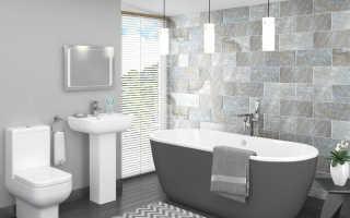 Дизайн ванной в серо белых тонах