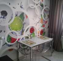 Дизайн кухни с фотообоями на стене фото