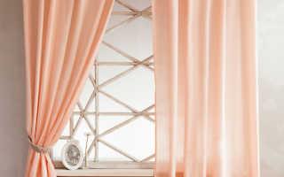 Персиковые шторы в интерьере