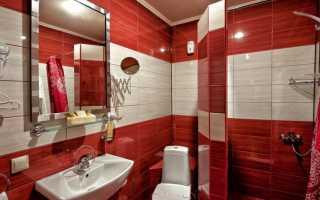 Дизайн ванной в красном цвете